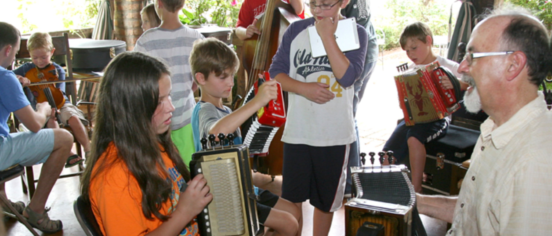 children playing music instruments